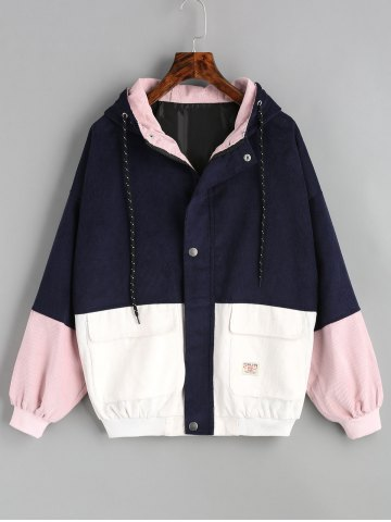 Fancy Color Block Hooded Corduroy Jacket