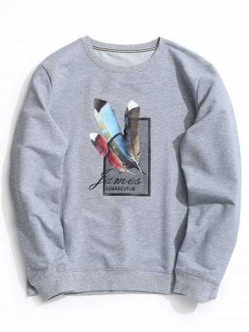 Latest Crew Neck Feather Graphic Sweatshirt