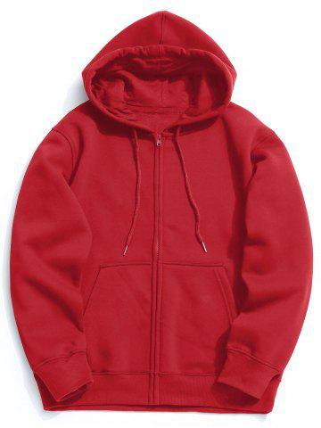 Trendy Kangaroo Pocket Fleece Zip Up Hoodie