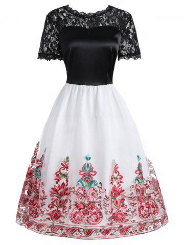 Lace Panel Embroidered Mesh Vintage Dress