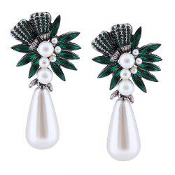 Floral Water Drop Faux Pearl Drop Earrings -