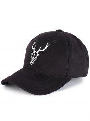 Outdoor Elk Head Pattern Faux Suede Baseball Hat -