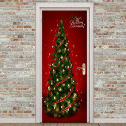Christmas Tree Pattern Environmental Removable Door Stickers -