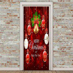 Christmas Bell and Ball Pattern Environmental Removable Door Stickers -