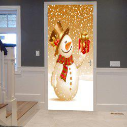 Christmas Snowman with Gift Pattern Door Cover Stickers - Orange - 38.5*200cm*2pcs