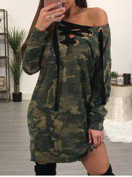 Camo Printed Lace Up Dress -