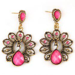 Hollow Out Faux Diamond Peacock Drop Earrings -