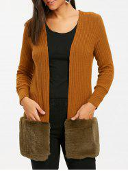 Faux Fur Open Front Tunic Cardigan -