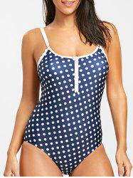 Half-zip Dotted One Piece Swimsuit -