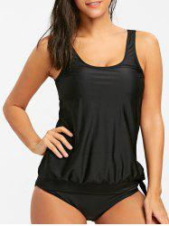 Scoop Neck Blouson Tankini Set -