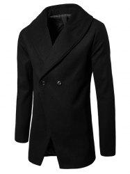 Shawl Collar Convertible Butoon Wool Blend Coat -