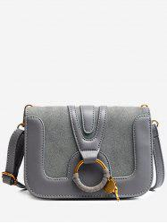 Faux Leather Round Ring Crossbody Bag -