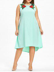 Floral Brodé Haut Bas Plus Size Dress -
