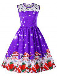 Christmas Mesh Insert Santa Claus Print Dress -