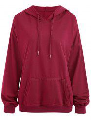 Drop Shoulder Plus Size Plain Hoodie with Pocket -