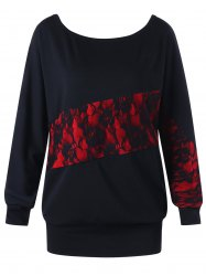Lace Panel Plus Size Sweatshirt -