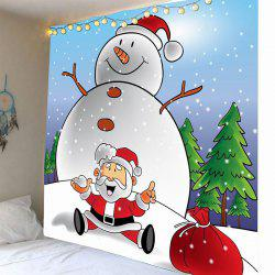 Fat Snowman Printed Wall Hanging Tapestry -