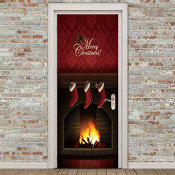 Environmental Removable Christmas Fireplace Printed Door Stickers -
