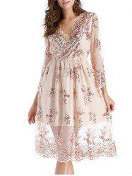 Plunging Neck Lace Dress -