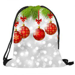 Baubles Pattern Christmas Gift Candy Bag Drawstring Backpack -