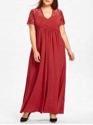 Lace Yoke Surplice Plus Size Maxi Dress -