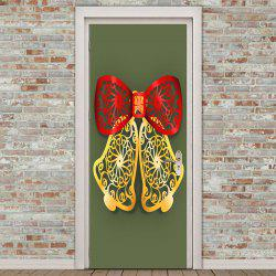 Paper Cut Bell Pattern Environmental Removable Door Stickers -