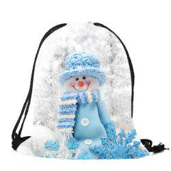 Snowman Pattern Christmas Gift Candy Bag Drawstring Backpack - Colorful