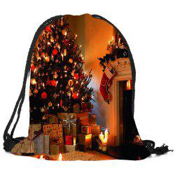 Christmas Fireplace Tree Pattern Candy Bag Drawstring Backpack -