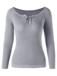 Ribbed Scoop Neck Lace Up Sweater -