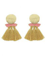 Metal Plate Exaggerated Earrings with Fringed -