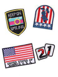 4PCS Star American Flag Design Embroidered Patches -