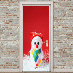 Cute Snowman Pattern Environmental Removable Door Stickers -