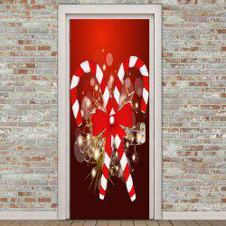 Christmas Candy Bar Pattern Environmental Removable Door Stickers - Red - 38.5*200cm*2pcs