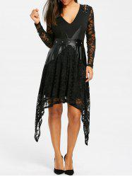 Lace Up Crescent Hem Gothic Dress -