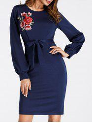 Embroidered Puff Sleeve Mini Bodycon Dress -