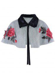 Faux Fur Panel Plus Size Embroidery Shrug -
