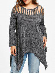 Plus Size Marled Handkerchief Shredded Top -