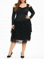 Plus Size Open Shoulder Layered Gothic Dress -
