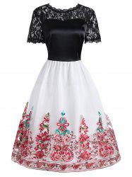 Lace Panel Embroidered Mesh Vintage Dress -