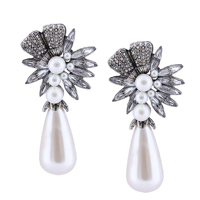 Shop Floral Water Drop Faux Pearl Drop Earrings