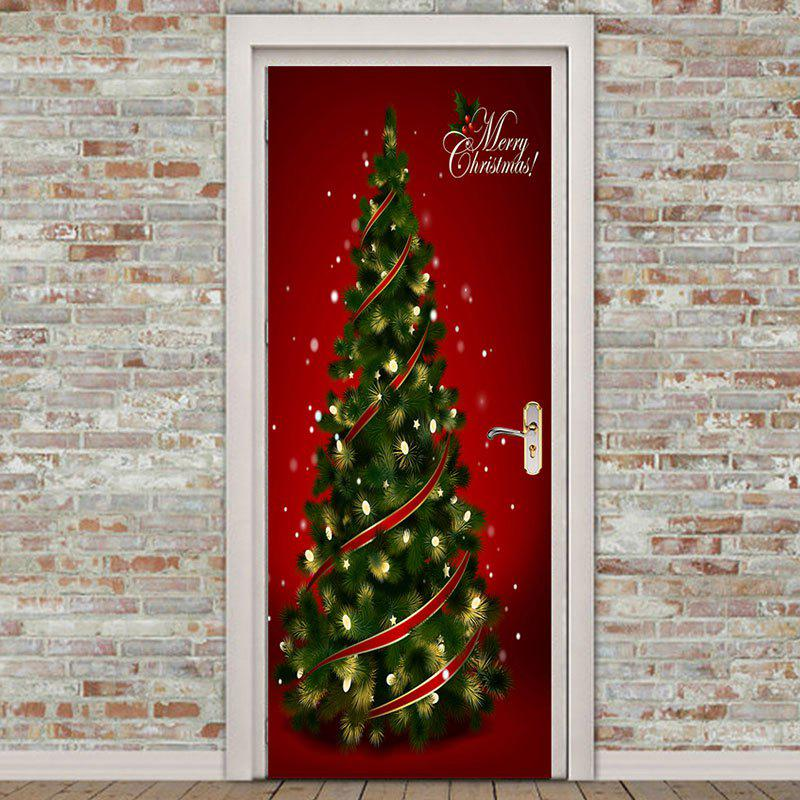 Outfit Christmas Tree Pattern Environmental Removable Door Stickers