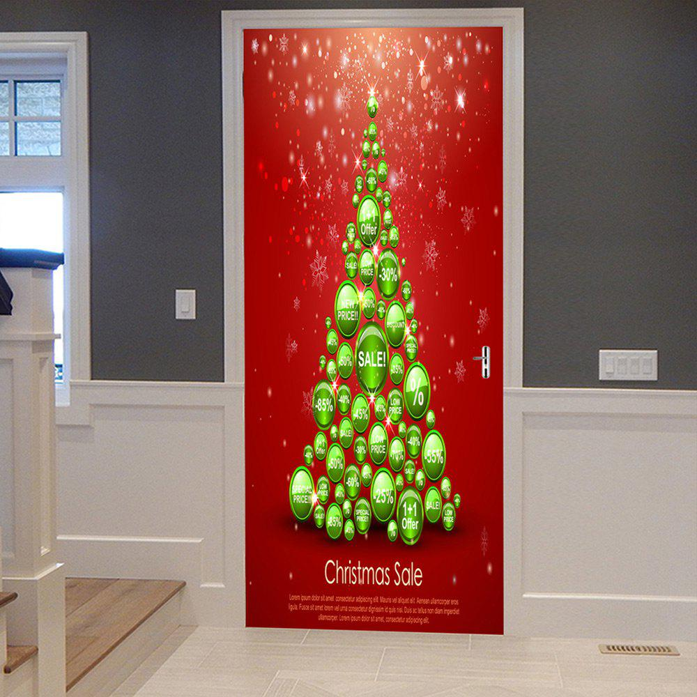 Chic Christmas Balls Tree Pattern Door Cover Stickers