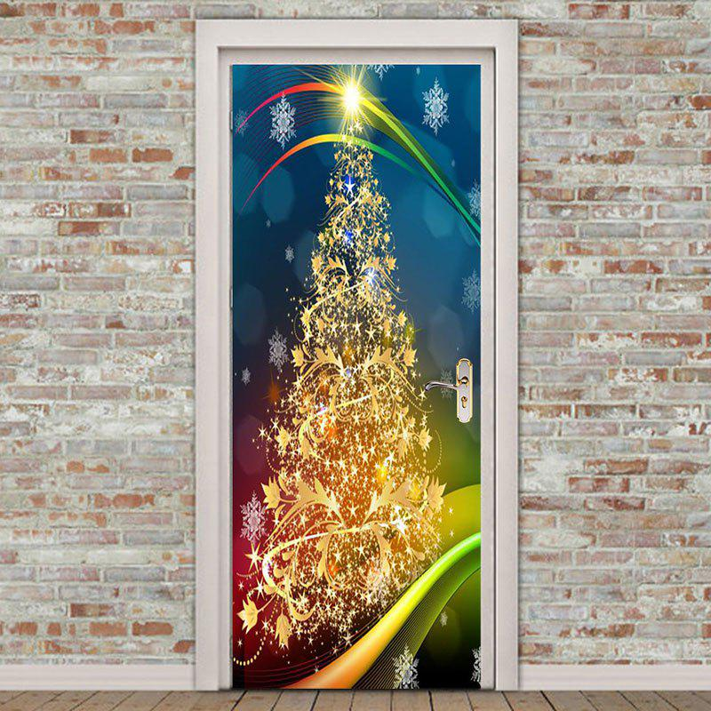 Store 2Pcs Golden Christmas Tree Pattern Environmental Removable Door Stickers
