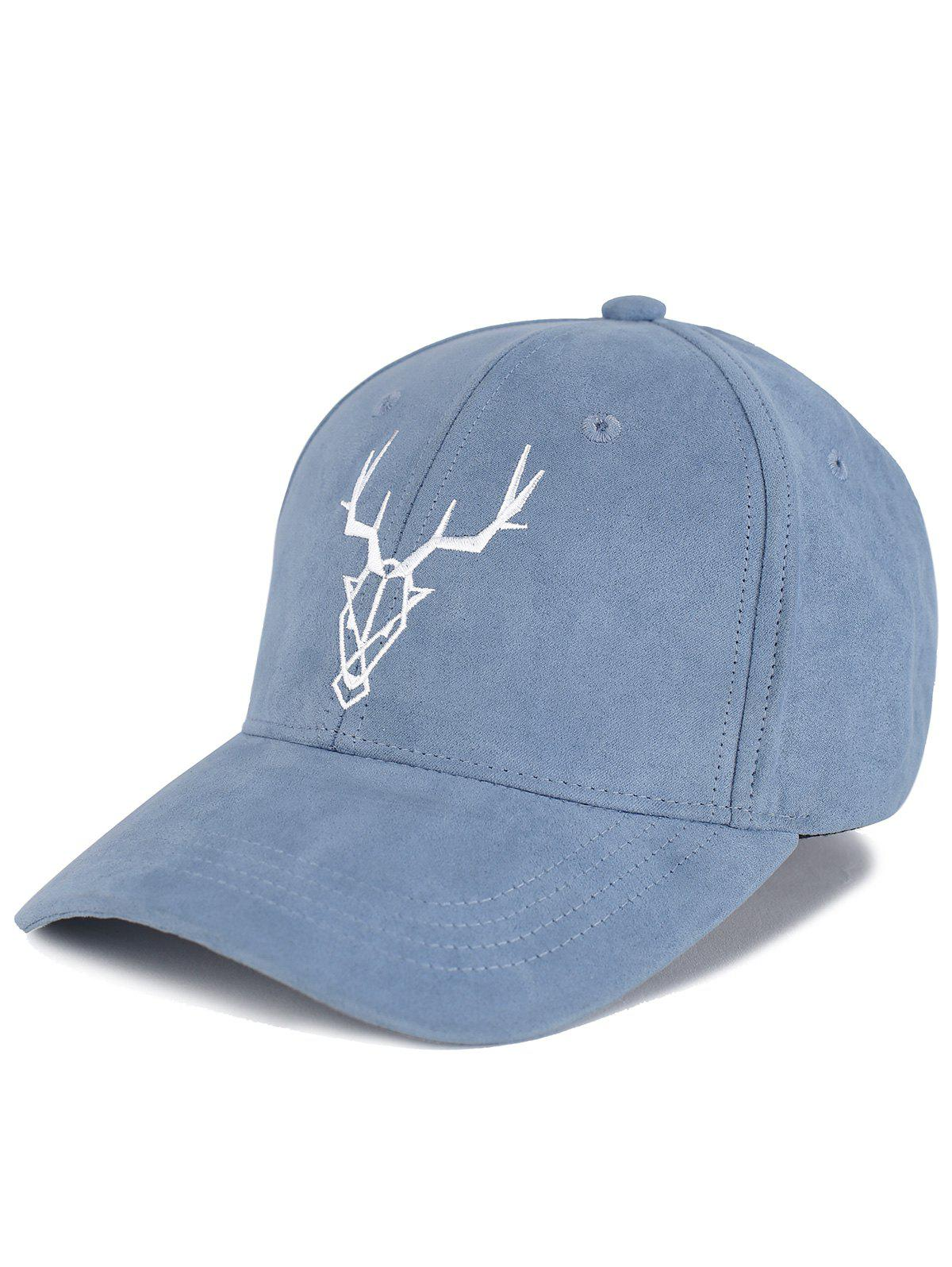 New Outdoor Elk Head Pattern Faux Suede Baseball Hat