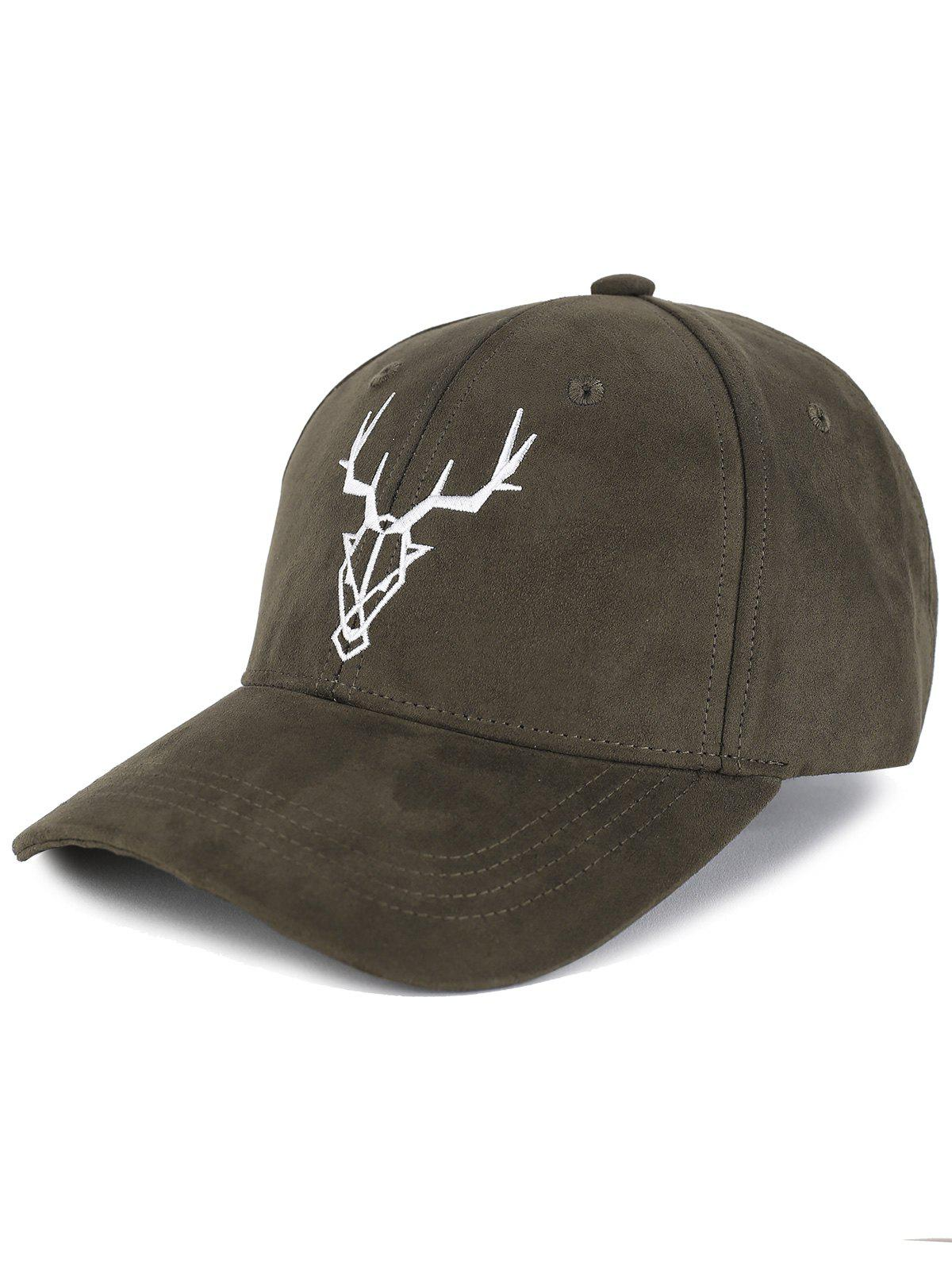 Outfits Outdoor Elk Head Pattern Faux Suede Baseball Hat