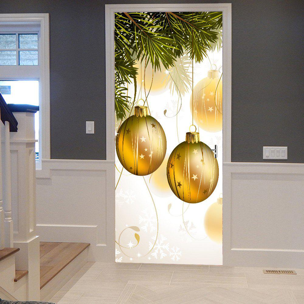 Chic Christmas Tree Hanging Baubles Pattern Door Cover Stickers