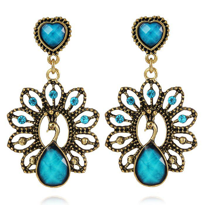 Outfits Hollow Out Faux Diamond Peacock Drop Earrings