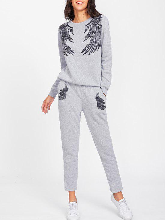 Affordable Gym Angle Wings Sweatpants Suit