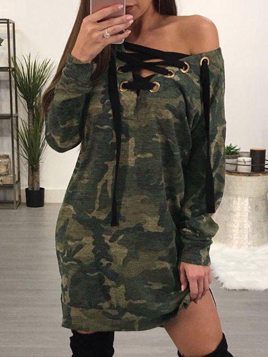 Chic Camo Printed Lace Up Dress