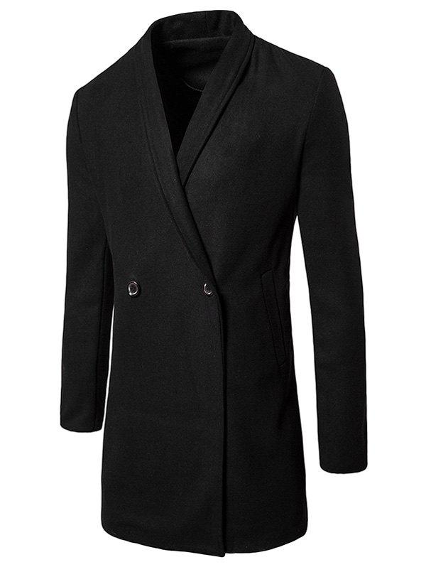 Latest Shawl Collar Two Button Wool Blend Coat